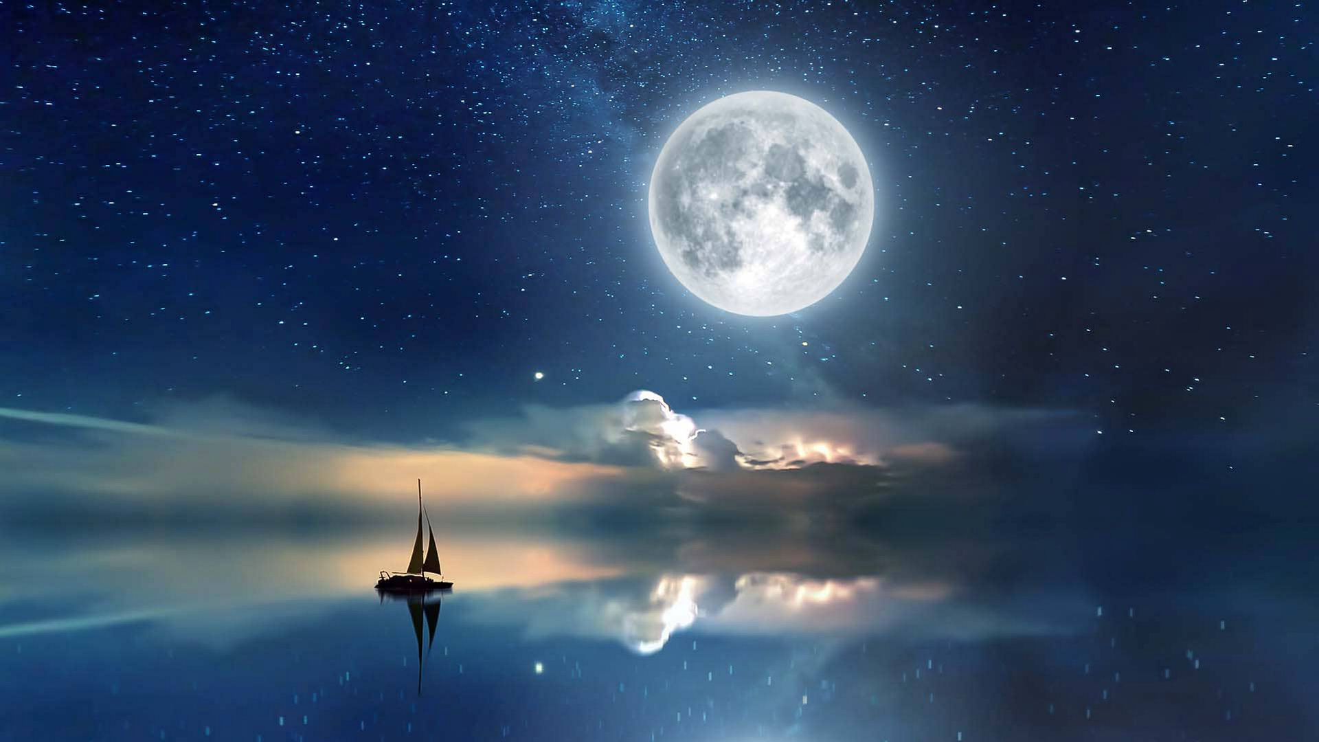 Lua cheia do esturjão perto de Júpiter e Saturno